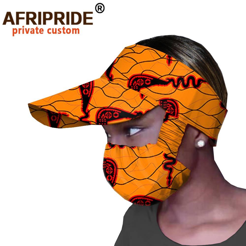 الأفريقي القبعات و قناع 2 قطعة للنساء الأزياء قبعة العلامة التجارية الطباعة أنقرة طباعة الأفريقي اكسسوارات مباراة طباعة كاب A20H005