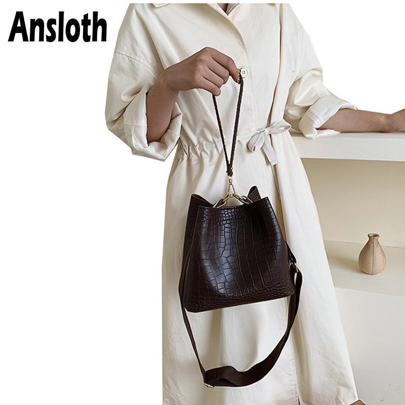 Ansloth Crocodile Pattern Shoulder Bag Women Bag Small Bucket Bag Ladies PU Leather Crossbody Bag Female Luxury Handbag HPS692