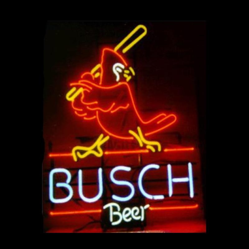 Busch-بطارية الكاردينال للبيرة ، علامة نيون ، أنبوب زجاجي حقيقي مصنوع يدويًا ، شريط منزلي ، KTV ، متجر ، زخرفة ، 14 بوصة × 17 بوصة