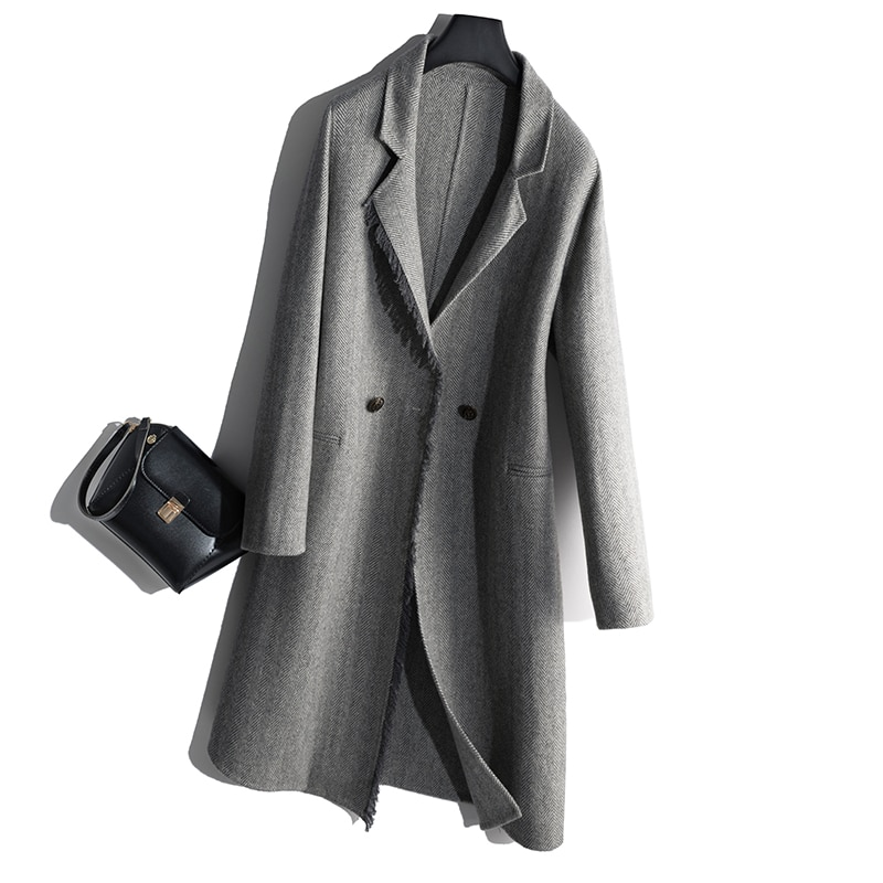 100% wool 2019 woolen coat Europe and America Japan South Korea V collar buckle solid color
