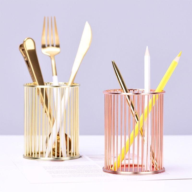 Золотая/Розовая Золотая круглая ручка-цилиндр, карандаш, коллекционный держатель, инструмент для дома и офиса, Настольный Органайзер
