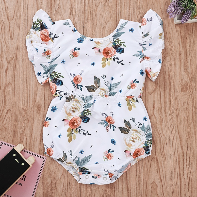 2019 bebé niña Onesie bebé una pieza recién nacido bebé chica manga acampanada y estampado Floral mono verano 6-9 meses Niña ropa al por mayor