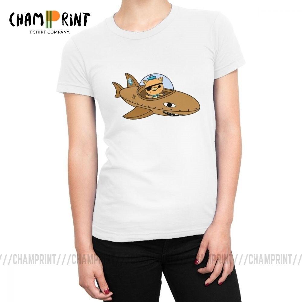 Camisetas de los octonautas, camisetas para mujeres, camisetas de moda del Anime de dibujos animados Kwazii, ropa femenina de 100% de algodón de gran tamaño