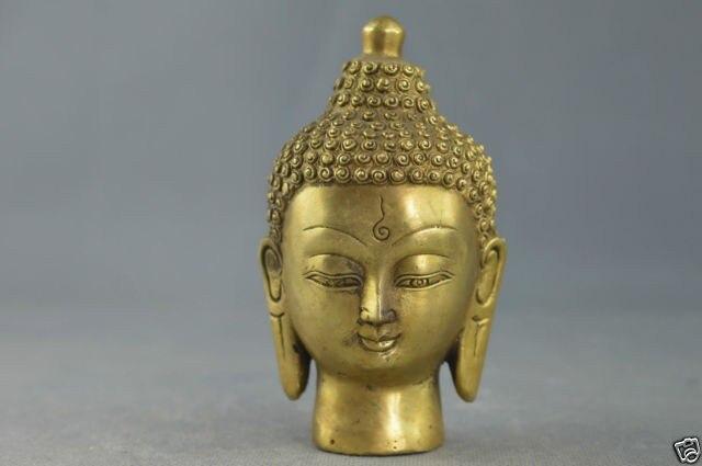 Elaborado a mano chino cobre tallado maravillosa Cabeza de Buda budismo estatua...