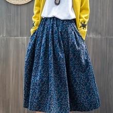 Printemps été Vintage coton lin plissé jupe taille élastique imprimé fleuri Midi jupes Plisse jupe femme 2020 FF2480