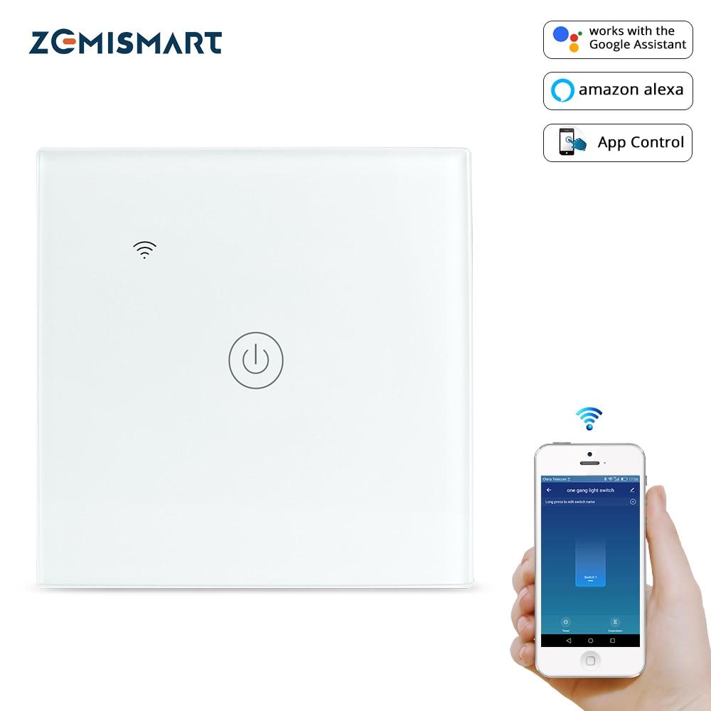 Zemismart – interrupteur de lumière WiFi Tuya, neutre en option, un, deux, trois Gangs, Alexa, Google Home Assistant, contrôle de vie intelligente