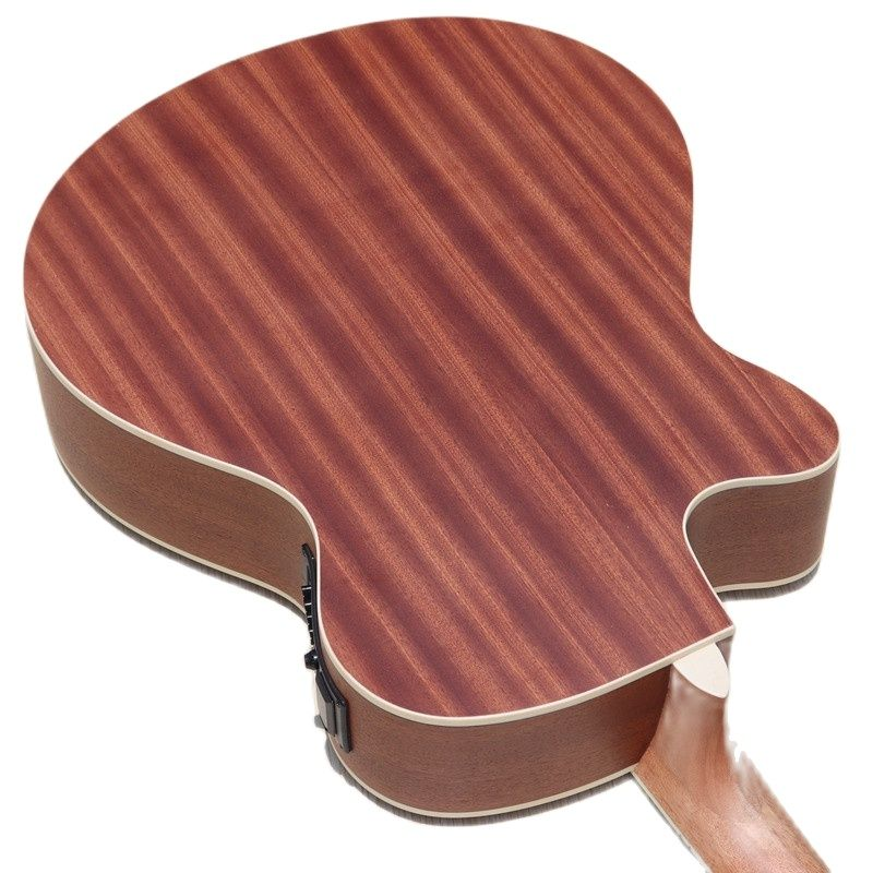 Stock Full Okoume Wood Electric Acoustic Guitar 40 Inch Folk Guitar 6 Strings Wood Guitar Matte Cutway Design with Guitar Pickup enlarge