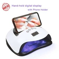 new uv led nail lamp 72w dual light source nail dryer for all gels with touch screen digital display with phone holder hand hold