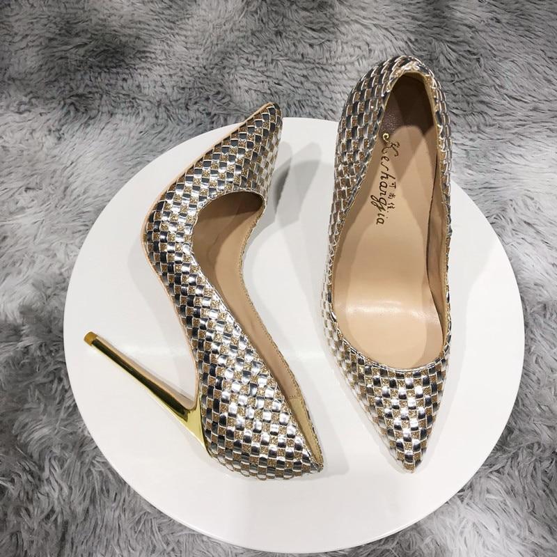 12 سنتيمتر اللون مثير مطابقة المنسوجة عالية الكعب المهنية رقيقة كعب صافي الأحمر واحدة أحذية نسائية 10 سنتيمتر وأشار الضحلة حذا فردي للسيدات