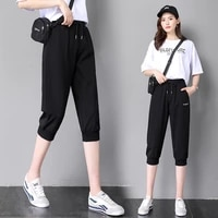 newest fat womens loose cropped sweatpants casual stretch tapered running calf length trousers ladies summer harem capris pants