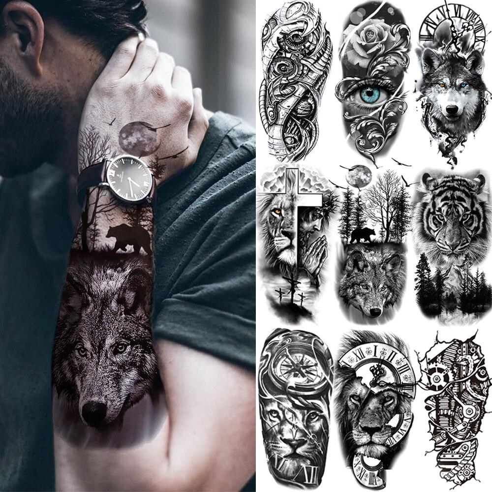 Black Forest Tattoo Sticker For Men Women Children Tiger Wolf Death Skull Temporary Tattoo Fake Henna Skeleton King Animal Tatoo