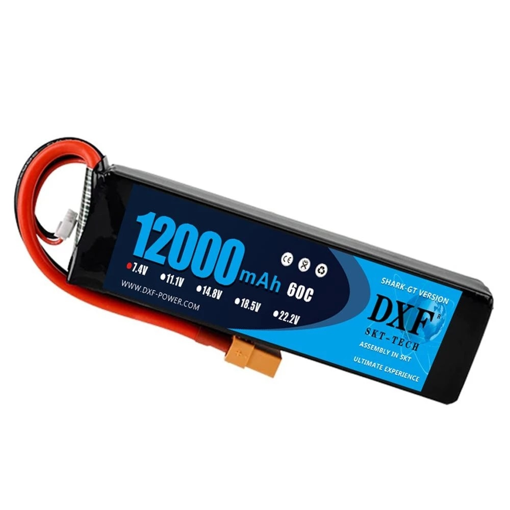 2PCS DXF 2S 7.4V 12000mAh 60C Max 120C Lipo Battery RC Parts with T plug Comfortable for TRXX 1/10 Car Drone Helicopter Boat FPV enlarge