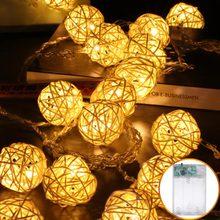 Rotan Bal Slingers Led String Light Battery Operated 2M 5M 10M 40 Luminaria Fairy Decoratieve Verlichting Kerst indoor Bruiloft