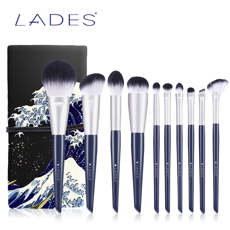 LADES 10PCS Makeup Brushes Sets Powder Blusher Foundation Make up Brush Blending Eyeshadow Brush Blue Beauty Tools With Pouch недорого