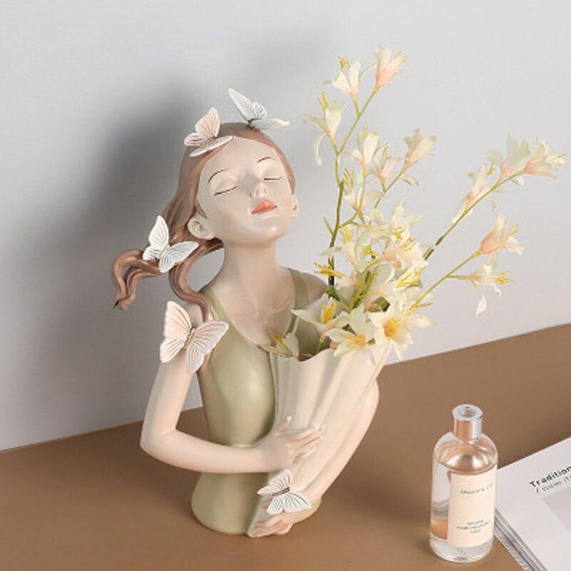 Sala de Estar Estilo Nórdico Menina Resina Estátua Escultura Bouquet Decoração Moderna Casa Artesanato