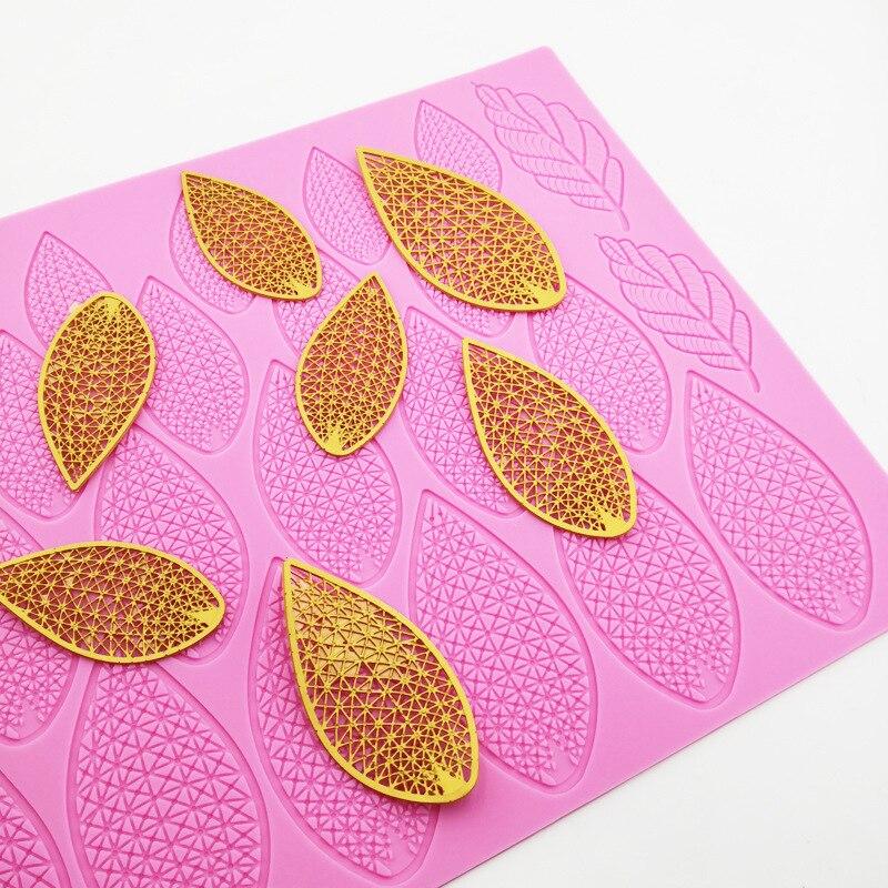 Кружевная силиконовая форма с большими листьями для помадки, шоколада, эпоксидной смолы, форма для сахарной мастики, кондитерские изделия, ...