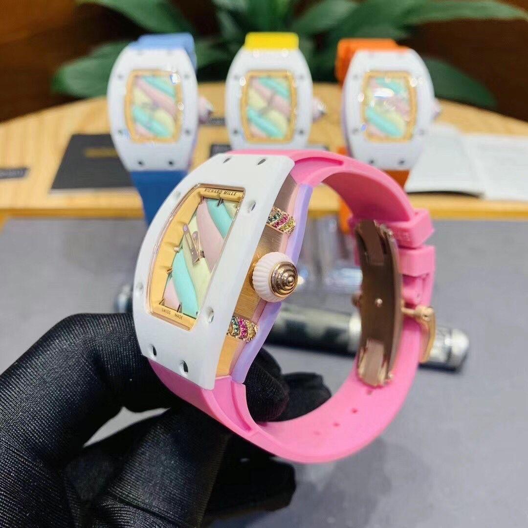 2021 brand new ladies ladies girls automatic mechanical sapphire white ceramic rubber stainless steel BonBon watch luminous 32mm enlarge