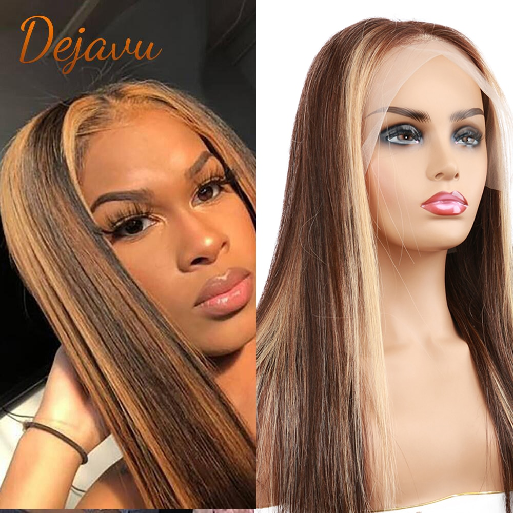 Ombre Straight P4/27 Lace Front Wigs Highlight Human Hair Wigs Blonde Colored Prepluck With Baby Hair Remy Wig