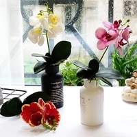 4 headed phalaenopsis with leaves artificial flowers pot decor home hotel shopping mall decoration photography props fake orchid
