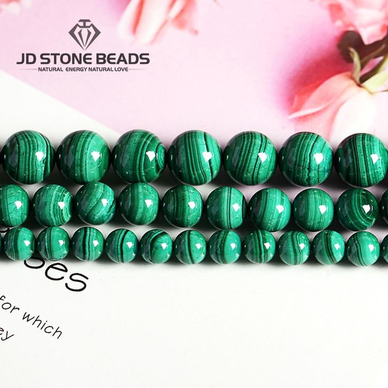 Cuentas de malaquita naturales Color verde oscuro 4 6 8 10mm tamaño pico piedras semipreciosas accesorios para la fabricación de joyas