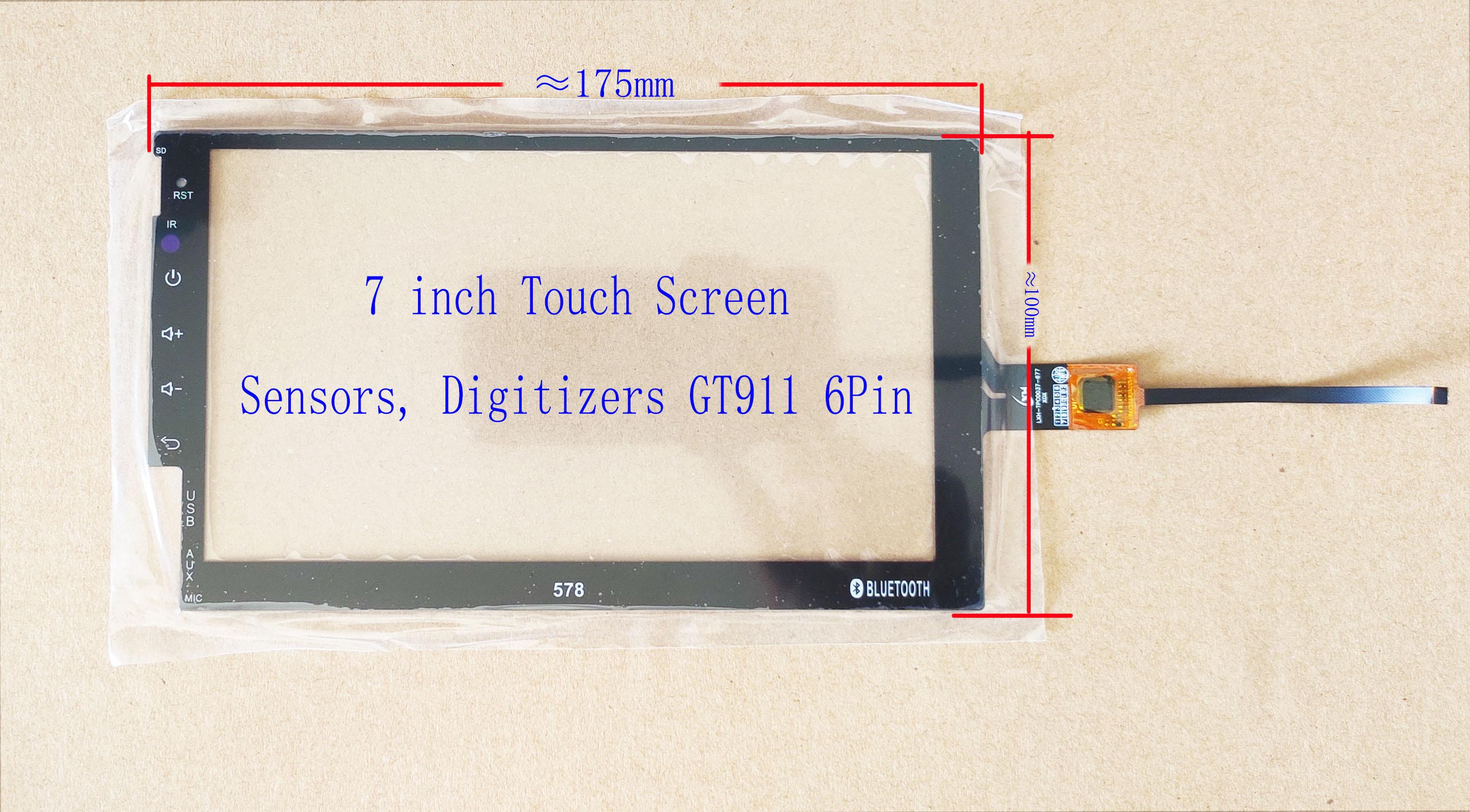 7 pulgadas 175*100mm Capaivitve sensores táctiles digitalizadores Chevrolet Hyundai coche Radio Univesal GT911/615 6pin PI-707 LXH-TPC0037-077