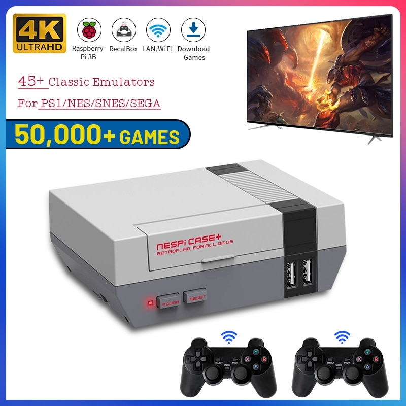 Portable 4K HD TV Video Game Console Recalbox Built-in 50000 Games Raspberry Pi 3B TV Game Console With Dual Controllers For PS1