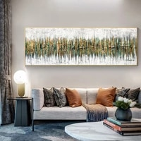 abstract art oil painting on canvas wall art poster and print wall abstract golden green forest picture for living room decor