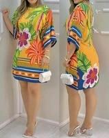 printed round neck five point sleeve dress women birthday dress for women 2021 summer fashion new dresses