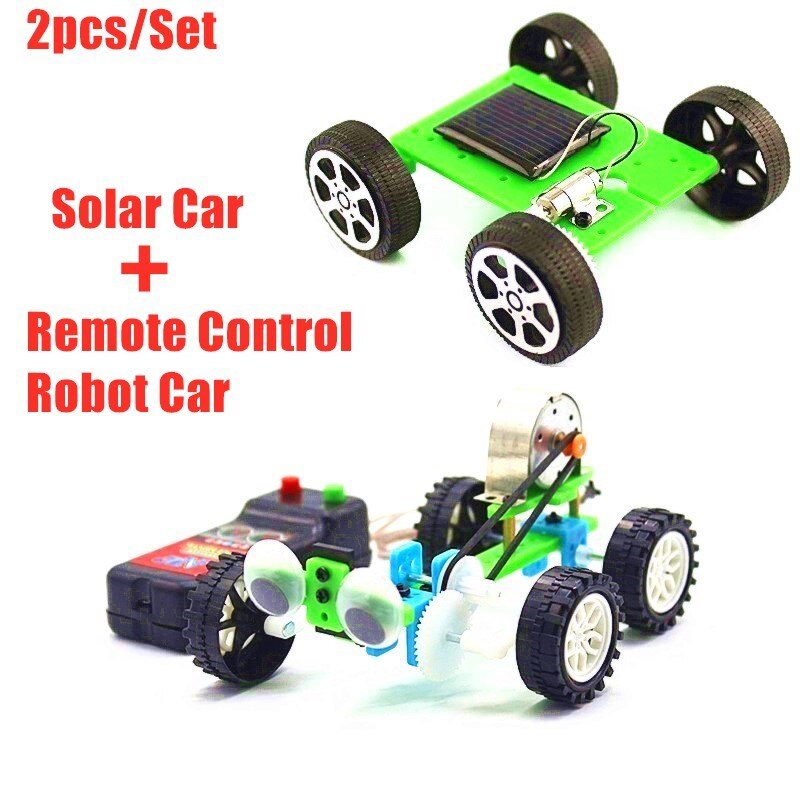 2pcs/Set DIY Solar Powered & Remote Control Electric Car Kids Science Experiment Toys Kits STEAM Education School Project