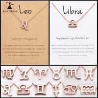 rose gold cable chain 12 zodiac constellation charm necklace for women wish card collarbone chain neaklaces girlfriend gifts