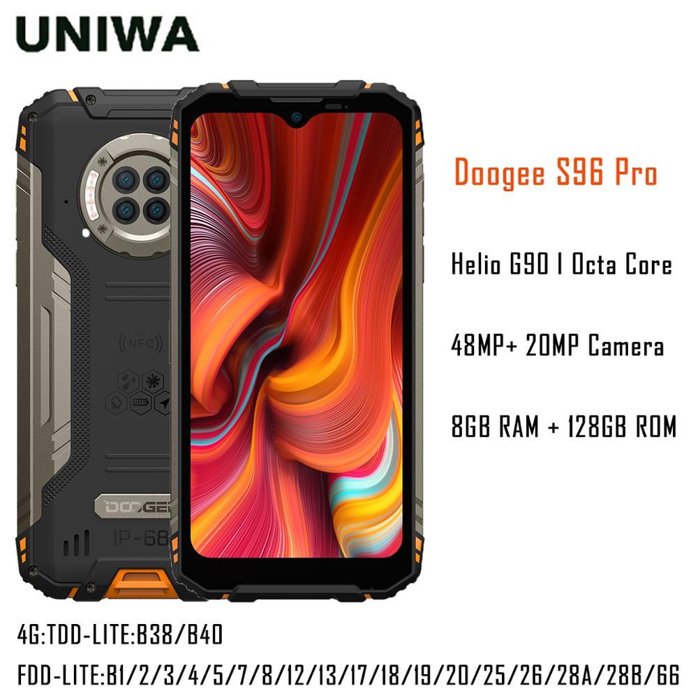 Waterproof Octa Core 8GB+128GB Rugged Phone 48MP Camera 20MP Infrared Night Vision Smartphone Helio G90 6350mAh DOOGEE S96 Pro