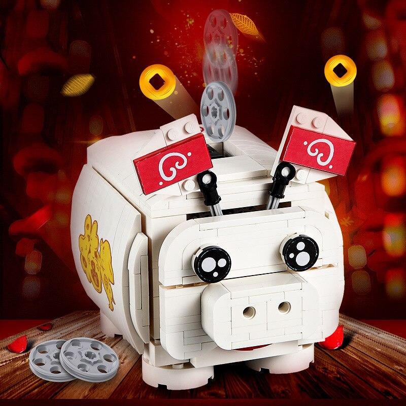 انقر فوق تجميع اللبنات الكهربائية حصالة على شكل حيوان للأطفال هدية عيد ميلاد لعبة تفاعلية