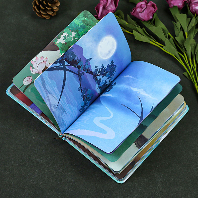 a5 illustration color page diary thick girl heart cute hand book korean student stationery notebook creative kawaii diary Ancient style retro diary hand ledger cute Korean student notebook full-color page notepad notebook notebook and journals diary