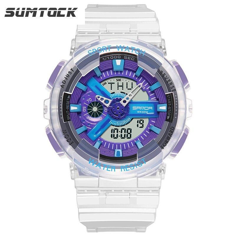 PANARS Dual Display Watches Transparent Male Girlfriend Gift Shock Men's Watch Blue Dial Luxury Watch Women Montre Homme Digital enlarge
