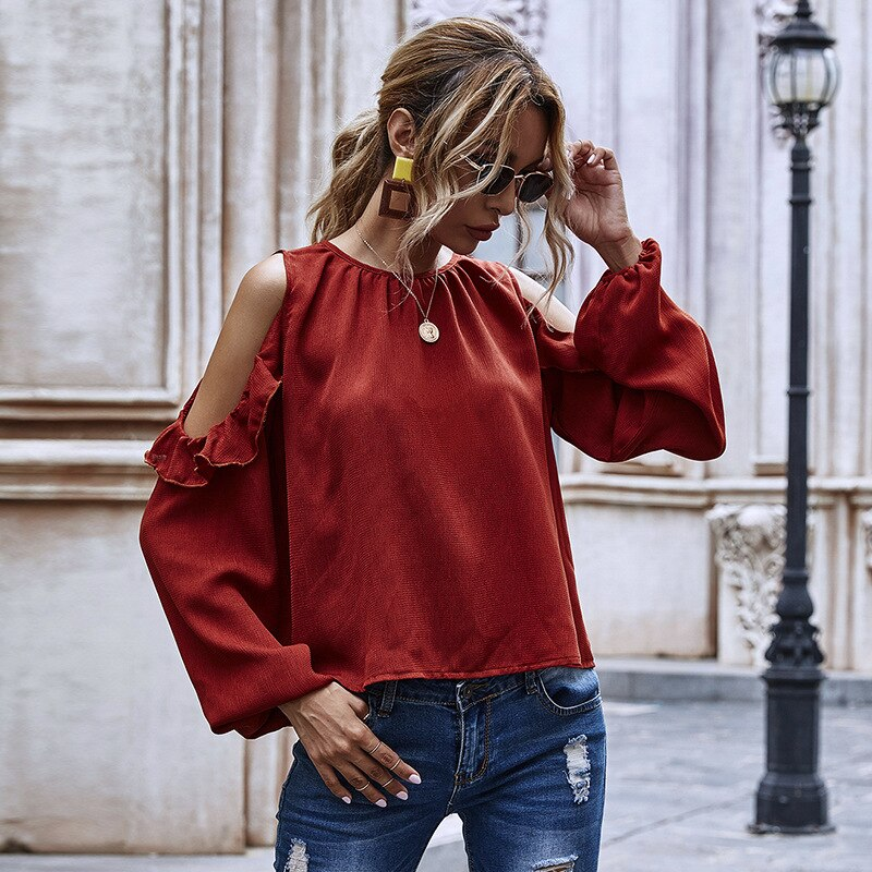 Solid Color Long Sleeve Loose Off-The-Shoulder Shirts