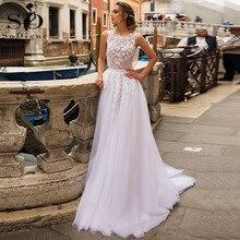 SoDigne blanc Boho robes de mariée 2020 élégant dentelle Appliques fleur Tulle plage robe de mariée grande taille robe de mariée