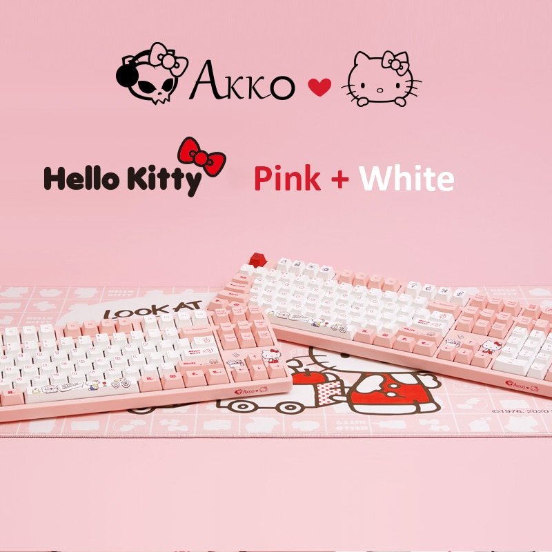 Original AKKO Pink Kitty Cat Wired Mechanical Gaming Keyboard with Switch 87 98 108 Keys PBT Computer Gamer Type-C Cable