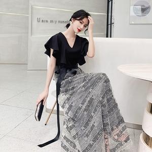 Evening dress new black sexy deep V-neck ruffled noble birthday evening dresses short sleeve was thin Formal Gowns vestido chino