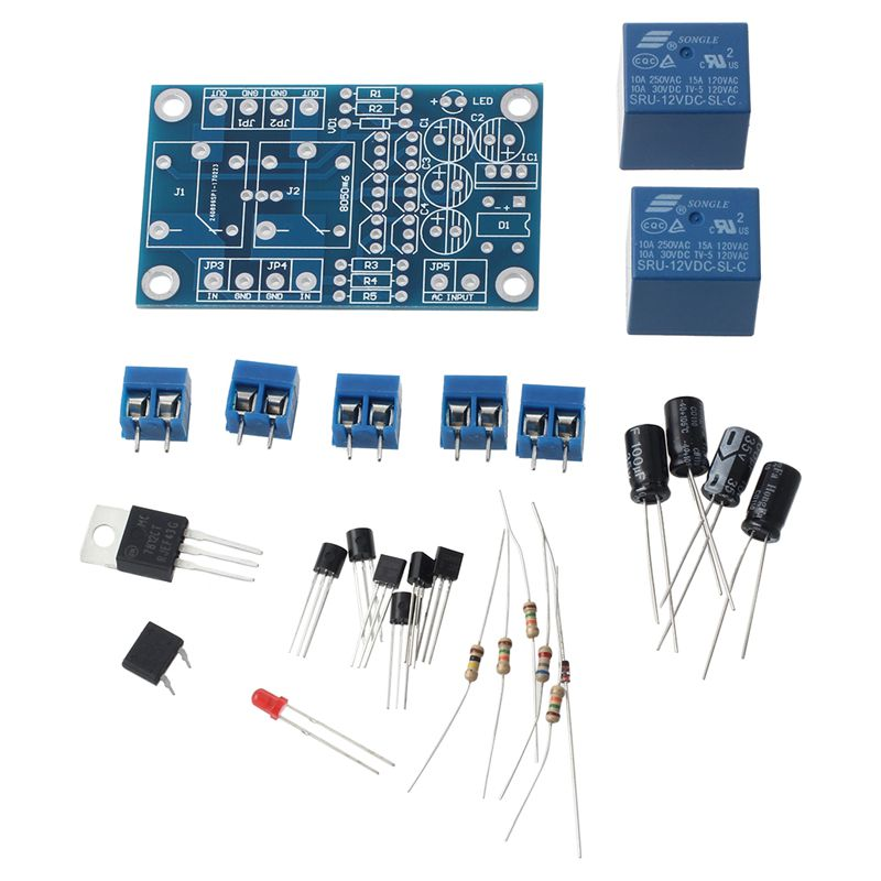 Alto-falante placa de proteção componente amplificador de áudio diy atraso de inicialização dc proteger kit azul preto