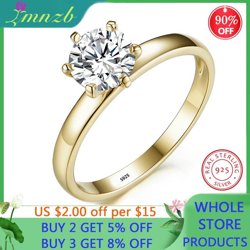 LMNZB Original 925 Sterling Silver Ring Handmade Wedding Jewelry 18K Gold 1 Carat Zirconia Diamond Engagemen Ring for Women Gift