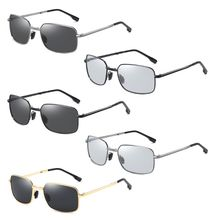 Men Photochromic Foldable Sunglasses with Polarized Lens Metal Frame Discolor Goggles Protection Ant
