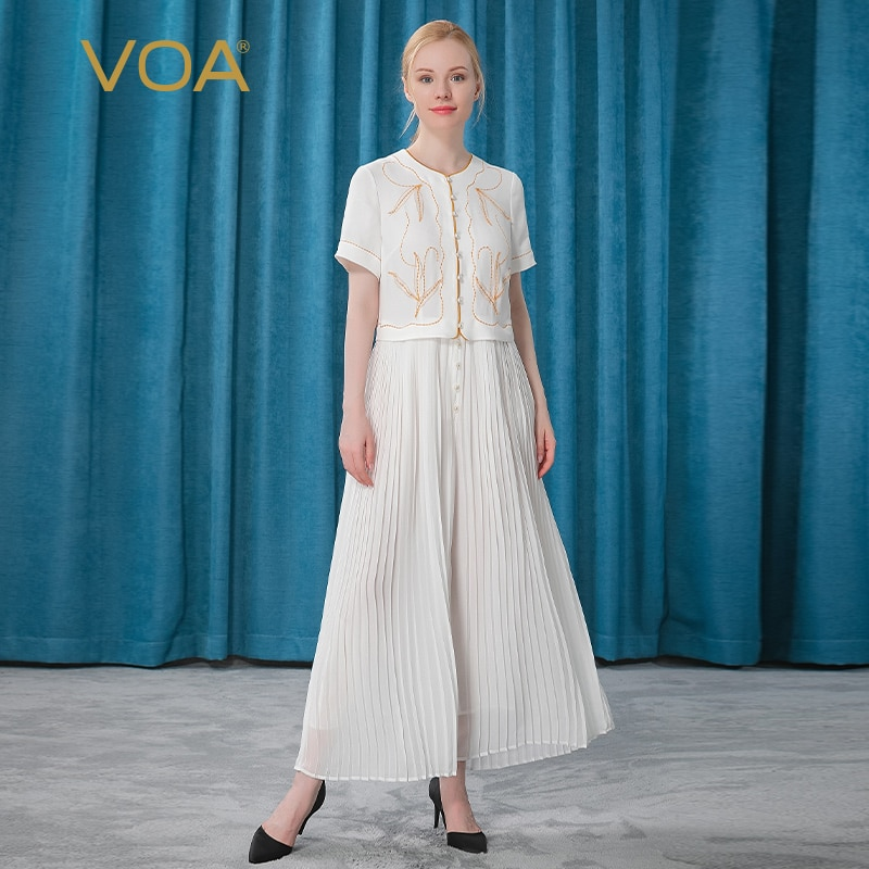 VOA 100% Mulberry Silk Milk White O-Neck Bright Line Decoration Lady Single-breasted Organ Pleat Loose Breathable Jumpsuit KE195