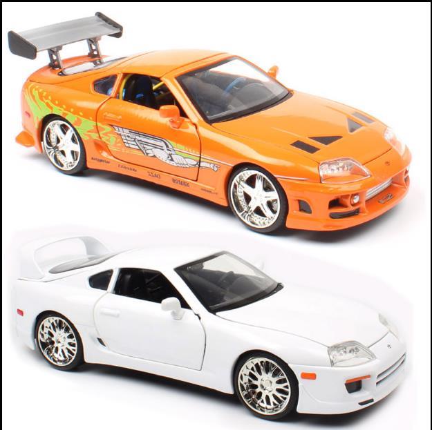 نموذج سيارة سبيكة تويوتا سوبرا 1995 1:24 ، 4 أبواب سيارات لعب ، مجموعة سيارات محاكاة ، شحن مجاني