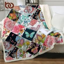 BeddingOutlet Butterfly Pink Blanket Luxury Throw Blanket Floral Colorful Plush Bedspreads Geometric Sherpa Fleece Blanket