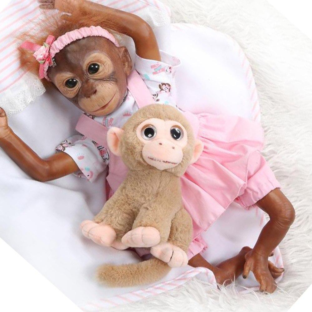 Muñeca NPK 52CM pintura detallada hecha a mano bebé mono recién nacido monos silicona muñeca coleccionable boneca Macaco bebe Juguetes