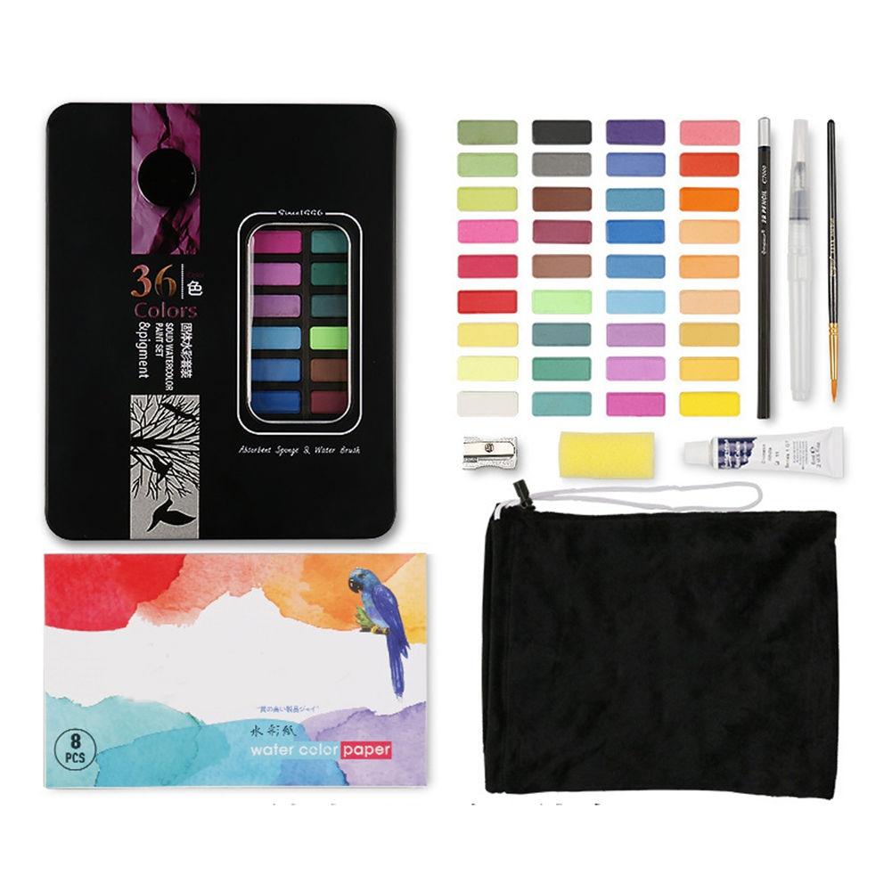 Paleta vibrante da escova do papel da aguarela das cores ajustadas da aguarela para crianças adultos que pintam a coloração j99store