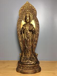 """Home Decor 16"""" Tibet Buddhism Temple Old Copperware Gilt Cinnabars Guanyin Bodhisattva Statue Avalokitesvara Enshrine the Buddha"""
