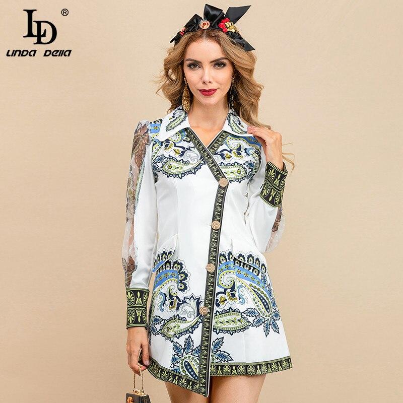 فستان صيفي أنيق للنساء من LD LINDA DELLA فستان شبك أنيق بأكمام طويلة مزين بأزرار مطبوعة على شكل قميص عتيق فستان قصير