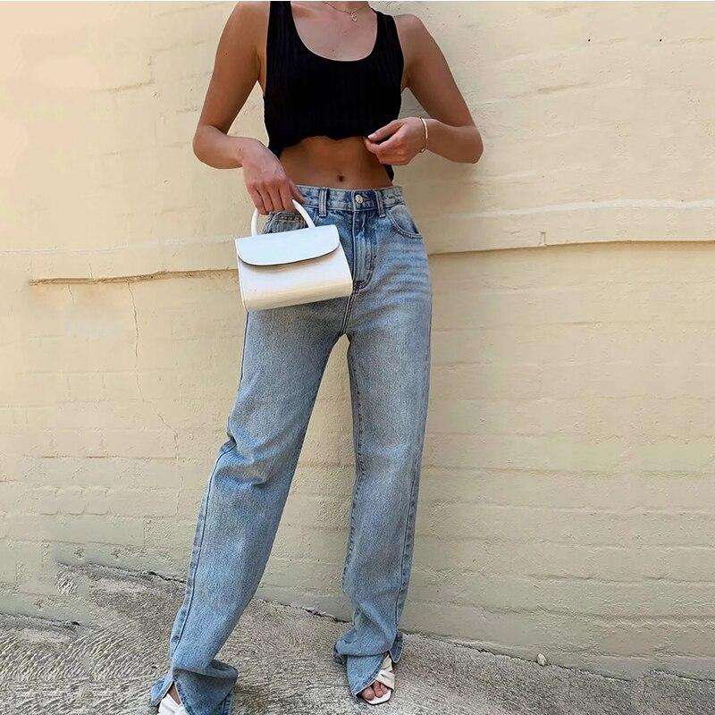 2020 Washed Denim Pants Jeans Women Boyfriend Jeans Casual Pants Split Long Pants Bottom Black Jeans