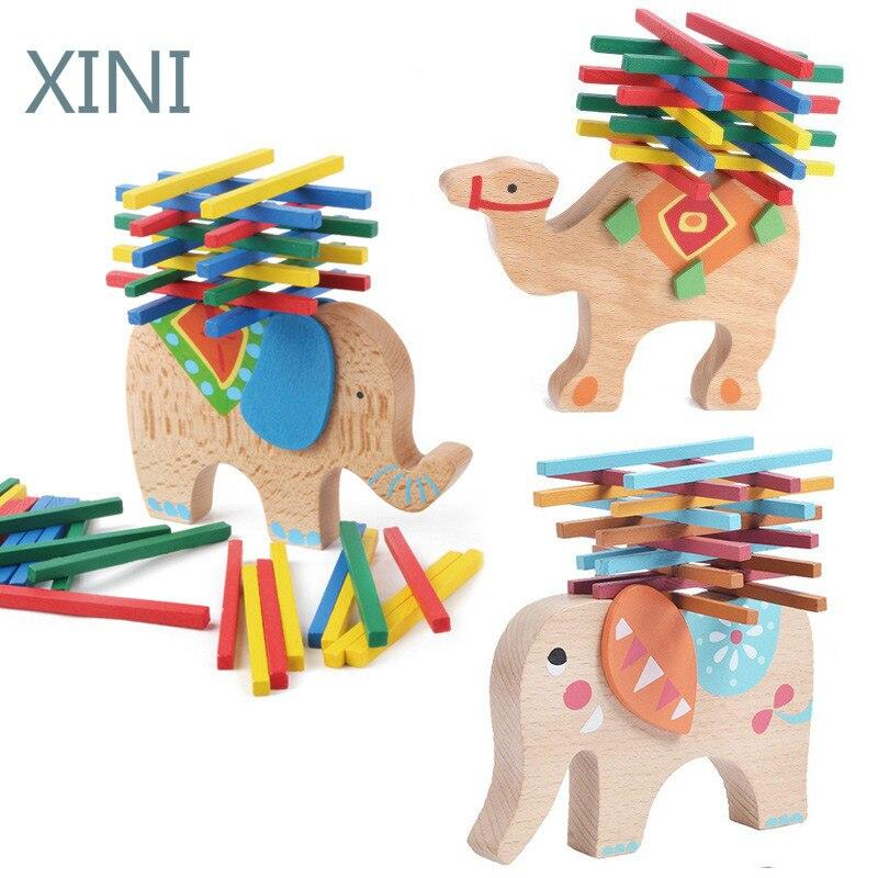 Новинка 2020, деревянные игрушки в виде слона/верблюда для детей, деревянные блоки, игрушки, игра для детей, развивающие игрушки Монтессори дл...